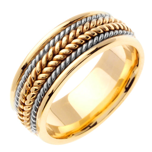 14k White Base/Yellow Center or Yellow/White Ropes Hand Braided Ring Band