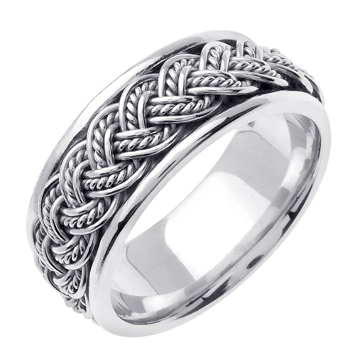18K Yellow or White Hand Braided Ring Band