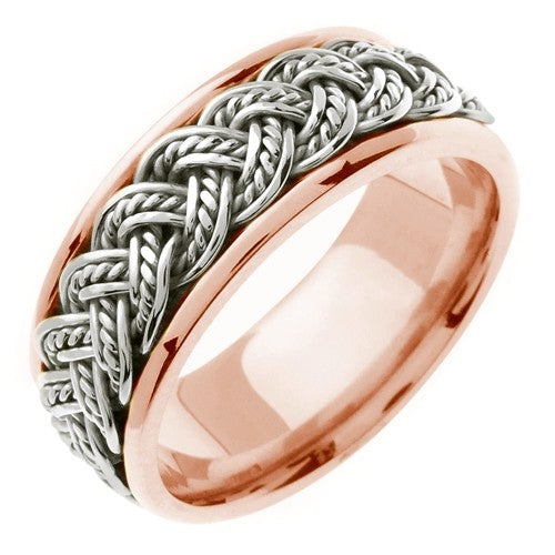 14k Rose or Rose/White Hand Braided Ring Band