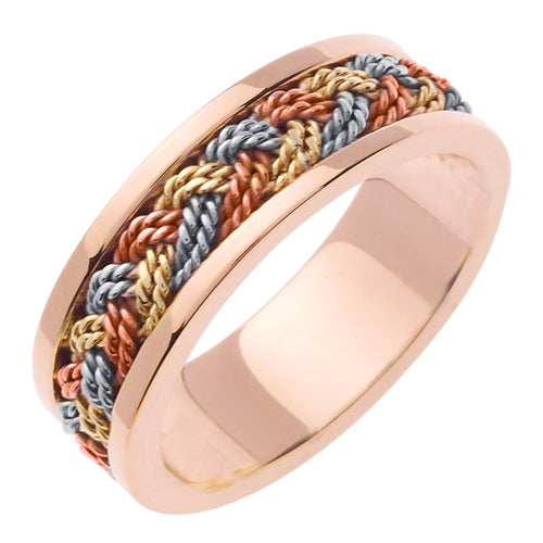 14K Rope Braided Ring- Rose/ Tricolor Rose