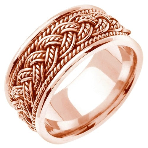 18k Rose or Rose/White Gold 7 Strands Hand Braided Ring Band