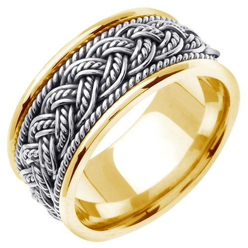 18k Yellow/White or White/Rose Gold 7 Strands Hand Braided Ring Band