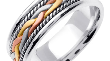 Titanium/Silver 14K Handmade Braided Cord Ring Band