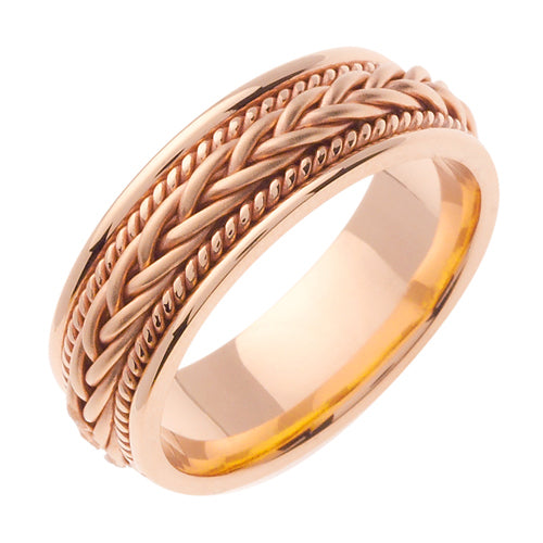 14K Rose or Yellow/Rose Hand Braided Cord Ring Band