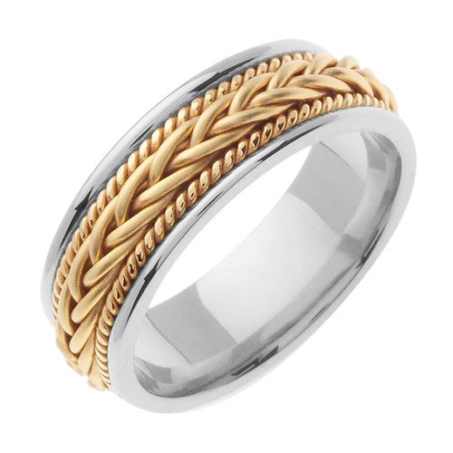 18K White/Yellow Hand Braided Cord Ring Band