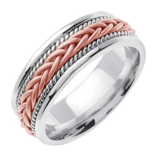 14K White/Rose Hand Braided Cord Ring Band