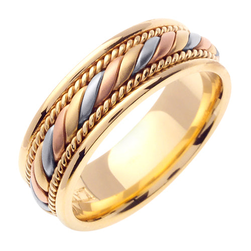 18K Yellow/Tricolor Hand Braided Cord Ring Band