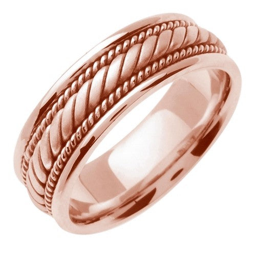14K Rose or Rose/Tricolor Hand Braided Cord Ring Band