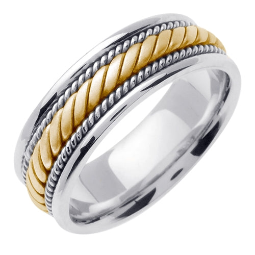 Silver/Yellow or Silver/Tricolor 14K Gold Hand Braided Cord Ring Band
