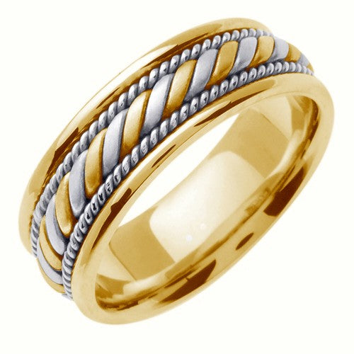 14K White/Yellow Hand Braided Cord Ring Band