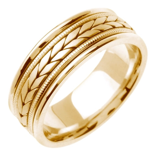 14K White or Yellow Hand Braided Wheat Pattern Design Ring Band