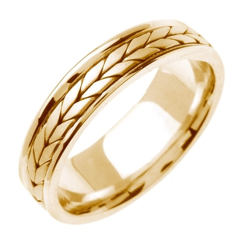 18K Yellow/White or Yellow 5mm Hand Braided Wheat Pattern Design Ring Band
