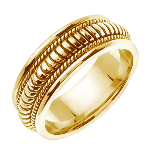 18K Yellow or White Hand Braided Cord Ring Band