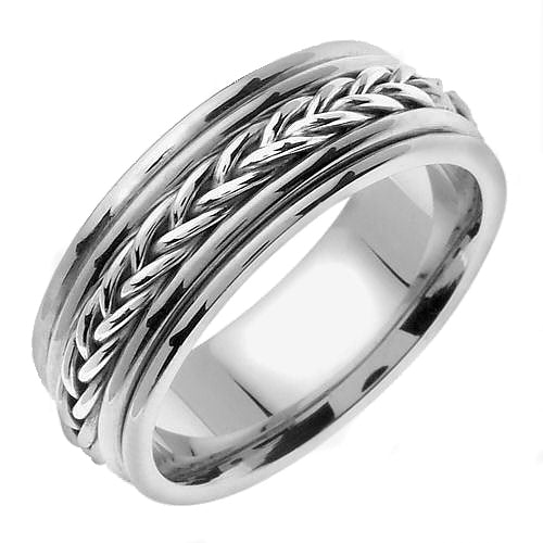 18K White or Yellow/White Gold Hand Braided Cord Ring Band