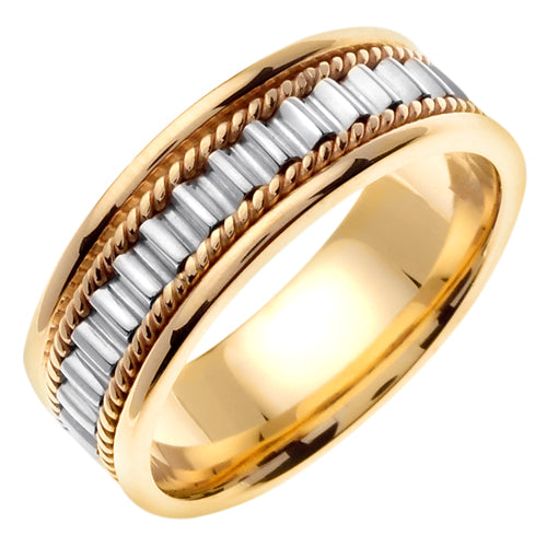 14k yellow and white center Gold Hand Braided Cord Ring Band