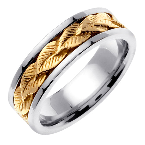 14K Silver/Yellow or Silver/Rose Leaf Design Ring