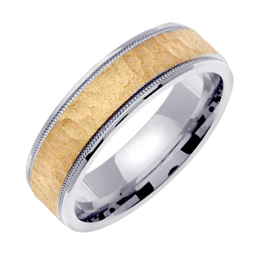 18K White/Yellow or White/Rose Hammer Finish Milgrain Edge Ring