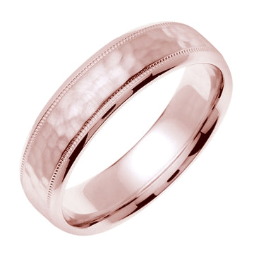 18K White or Rose Hammer Finish Milgrain Edge Ring