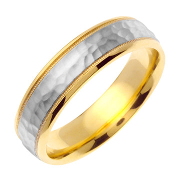 14K or 18K Yellow/White Hammer Finish Milgrain Edge Ring