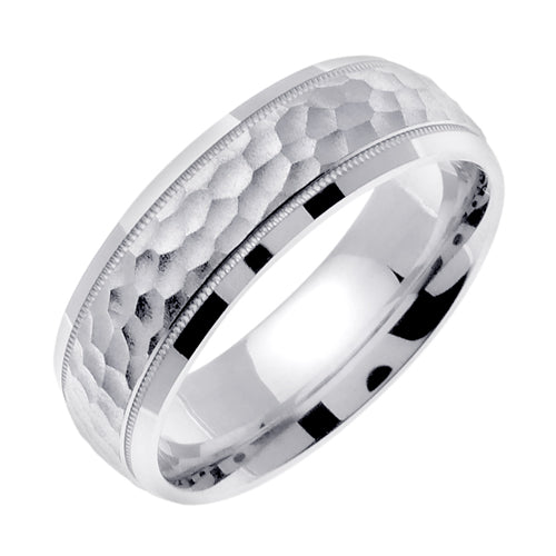Silver (PLATINUM & 24K YELLOW GOLD PLATING) Miligrained Hammer Finish Design Wedding Band Ring