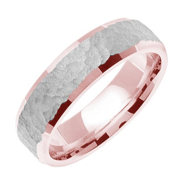 18K Rose/White or Yellow/White Hammer Finish Design Ring Band