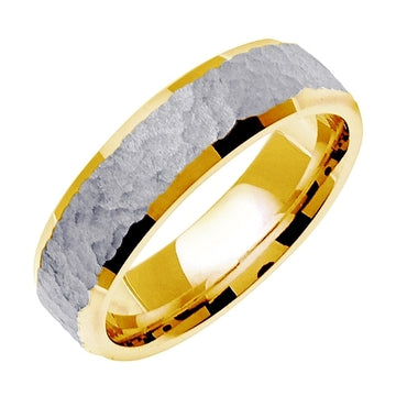 14K Rose/White or Yellow/White Hammer Finish Design Ring Band