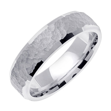 18K Yellow or White Hammer Finish Design Ring Band