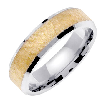 14K Rose or White/Yellow Hammer Finish Design Ring Band