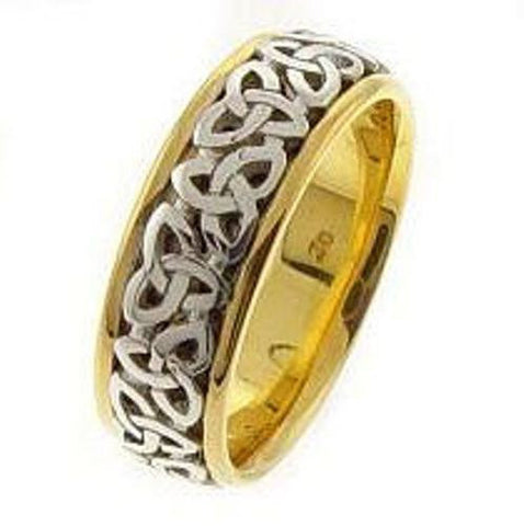 18K Two Tone Gold Celtic Trinity Knot Wedding Ring Band, For the Bride and Groom