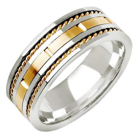 14K Two Tone Gold Hand Braided Cord Wedding Ring Band, For His and Her
