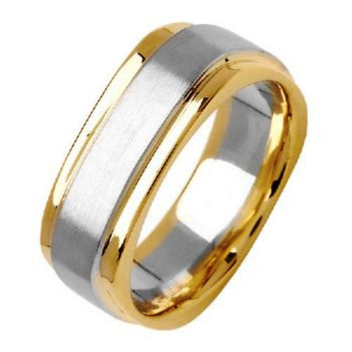 14K Two Tone Gold Square Wedding Ring Band, For His and Hers