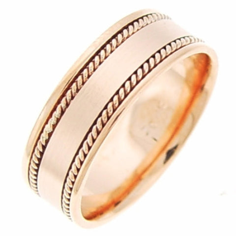 14K Rose Gold Hand Braided Cord Wedding Ring Band, For His and Her