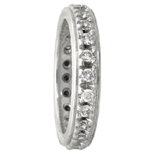 14K White Gold Eternity Diamond Wedding Ring Band, For the Bride and Groom