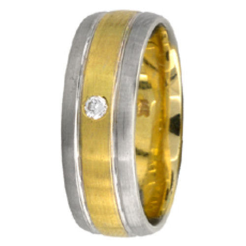 14K Two Tone Gold Diamond Wedding Ring Band, For His and Her