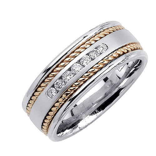 14K Two Tone Gold Seven Stone Diamond Hand Braided Cord Wedding Ring Band, For the Bride and Groom