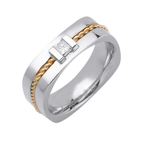 14K Two Tone Diamond Hand Braided Cor Wedding Ring Band, For the Bride and Groom