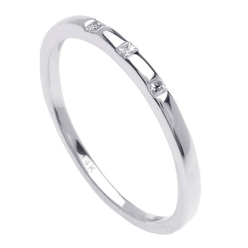 14K White Gold Three Stone Diamond Wedding Ring Band, For the Bride