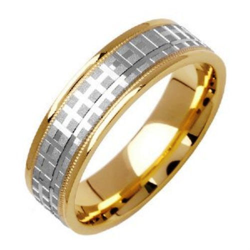 14K Two Tone Gold Carved Brick Pattern Wedding Ring Bands, For the Bride and Groom