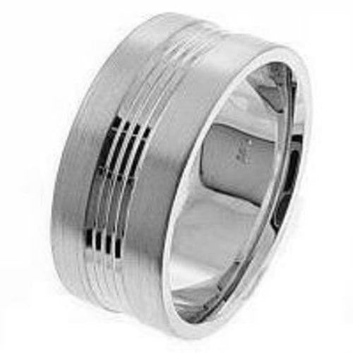 14K White Solid Gold Chrome and Matte Finish Wedding Ring Band, For the Bride and Groom