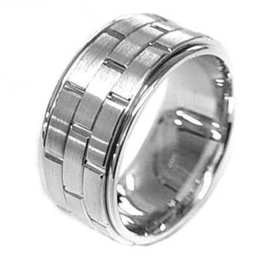 14K White Gold Brick Pattern Wedding Ring Band, For the Bride and Groom