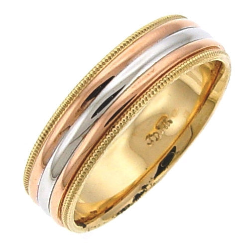 14K Two Tone Gold High Polish Milgrain Edge Wedding Ring Band, For His and Hers