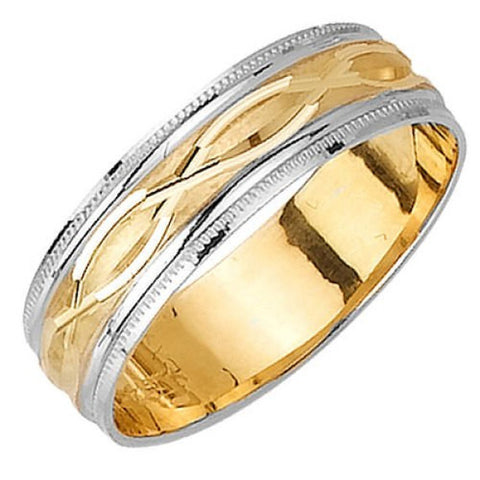 14K Two Tone Gold Braid Carved Design Wedding Ring Band, For His and Hers