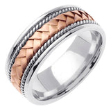 14K Two Tone Gold Hand Braided Cord Wedding Ring Band, White & Rose Gold Center with a White Gold Base for Men or Women (Sizes 3-14)