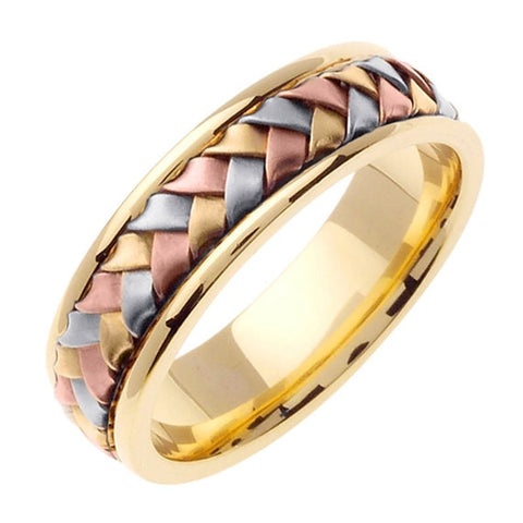 14K Tri Color Gold Hand Braided Wedding Ring Band, For His and Hers