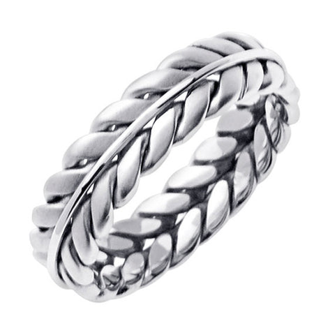 Sterling Silver Hand Braided Wedding Ring Band For Men or Women