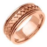 14K Rose Gold Hand Braided Cord Wedding Ring Band, For His and Hers