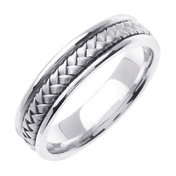 Sterling Silver Hand Braided Wedding Ring Band, His and Hers