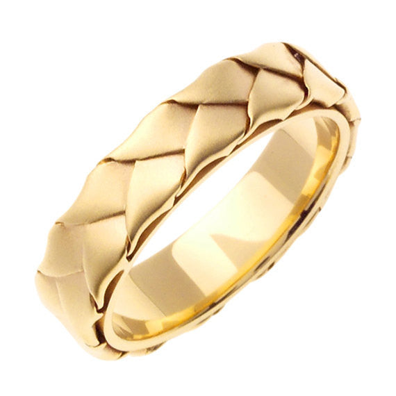 14K Yellow Gold Hand Braided Wedding Ring Band, For Men and Women