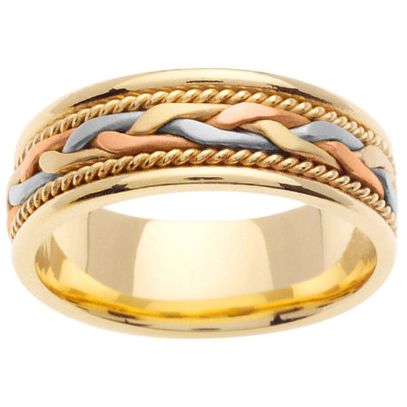 14K Tri Color Hand Braided Cord Wedding Ring Band JDBands