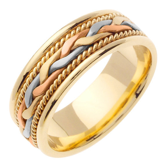 14K Tri Color Hand Braided Cord Wedding Ring Band, For the Bride and Groom